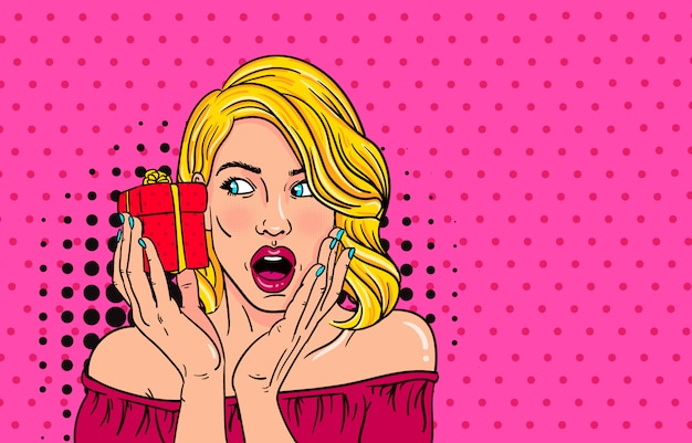 Wauw pop-art gezicht van verrast mode meisje open mond met valentine present in de hand.