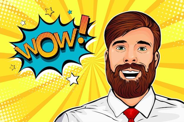 Wauw pop-art mannelijk hipster verrast gezicht