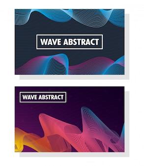 Wave abstract met belettering en pleinen frames in kleuren achtergronden