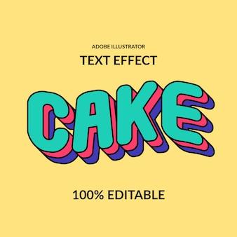 Wave cake leuk komisch rond pop kleurrijk bewerkbaar lettertype-effect voor kinderen