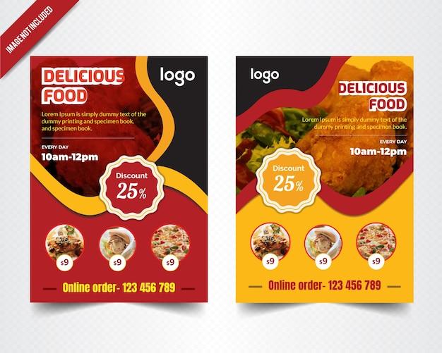 Wave food brochure design voor restaurant Premium Vector