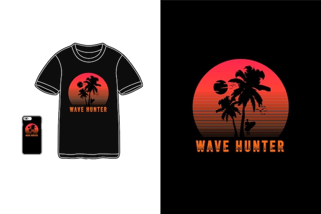 Wave hunter tshirt merchandise silhouet mockup