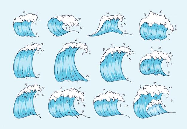 Wave ingesteld in japanse stijl