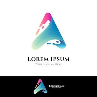 Wave letter a logo concept sjabloon