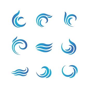 Wave-logo's. blauwe watergolven met plonsen