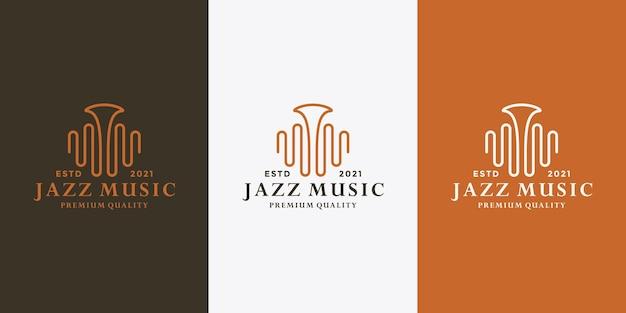 Wave muziek jazz logo ontwerpsjabloon voor muzikant, muziekinstrument winkel
