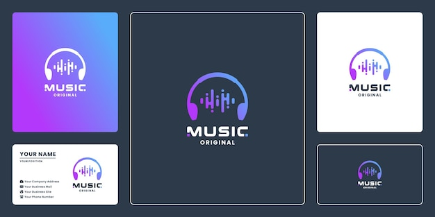 Wave muziek logo-ontwerp met kleurverloop en visitekaartje