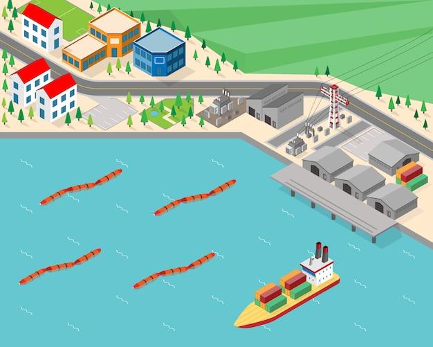 Wave power plant, golfenergie in isometrische afbeelding