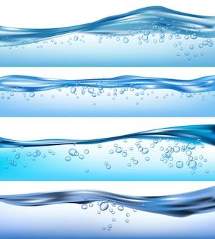 Wave realistisch. natuur oceaanwater spatten vloeibare stromende bubbels dranken golven set. zee aqua, water transparant oppervlak, golf duidelijke illustratie