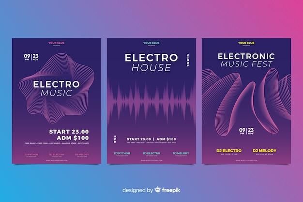 Wave sound elektronische muziekaffiche collectie