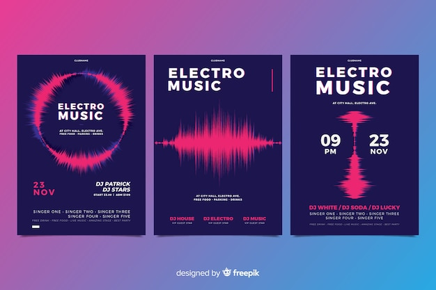 Wave sound elektronische muziekaffiche collectie