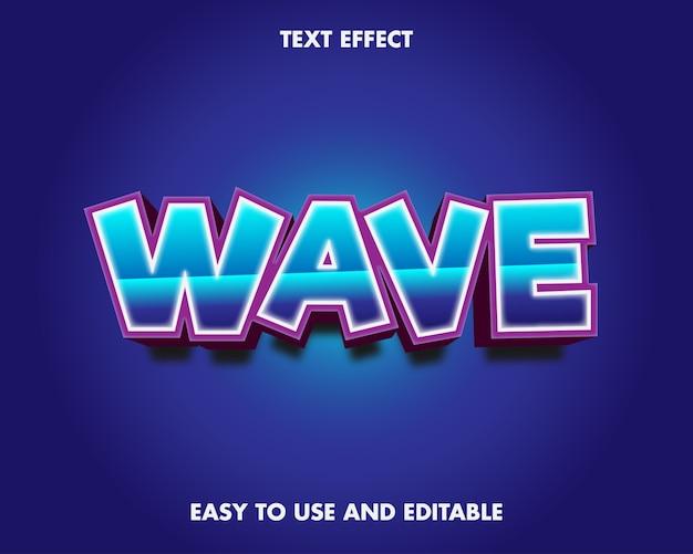 Wave teksteffect. bewerkbaar lettertype-effect.