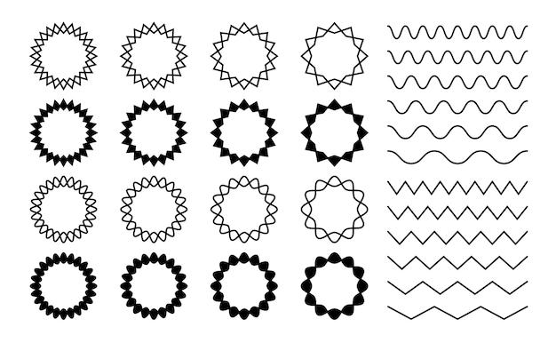 Wave zigzag verdelers. golvende zigzag ronde frames. geïsoleerde horizontale kronkelende golvende lijnen, zwarte gebogen gekartelde randen vector set. zigzag scheidingslijn, patroon parallelle bochtige illustratie