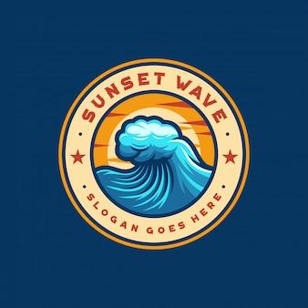 Wave zonsondergang logo ontwerp