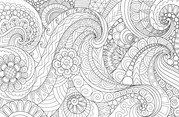 Waveabstracte lijntekeningen golvende stroom voor achtergrond, volwassen kleurboek, kleurende paginaillustratie