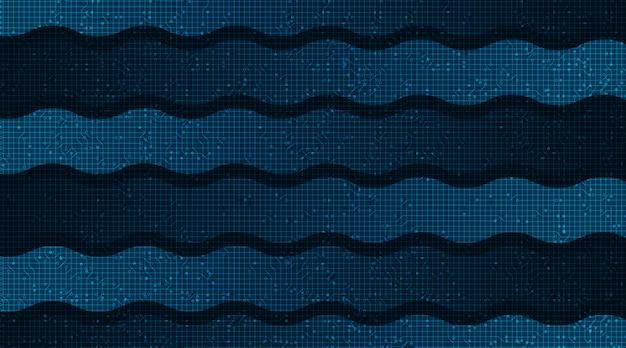 Waving speed line on technology microchip background, hi-tech digital en internet concept design