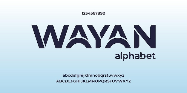 Wayan, modern creatief alfabet met stedelijke stijlsjabloon