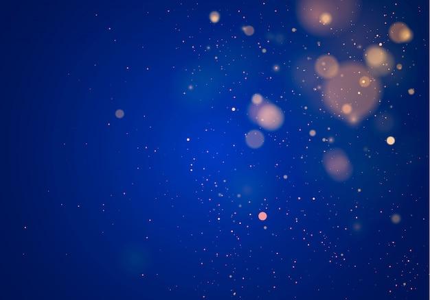 Wazig bokehlicht op donkerblauwe achtergrond. abstracte glitter intreepupil knipperende sterren en vonken.