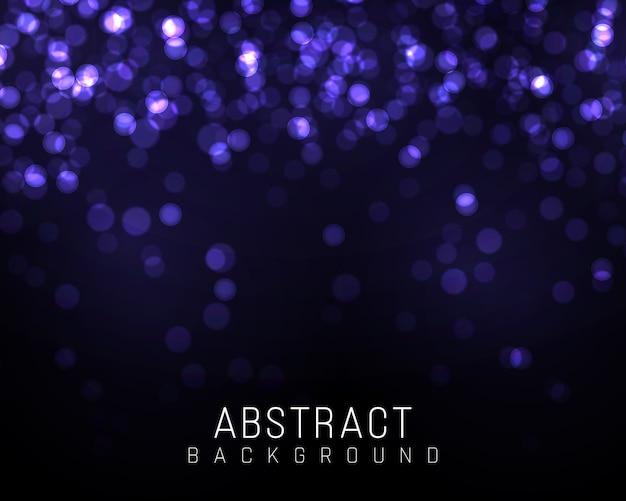 Wazig bokehlicht op donkerblauwe achtergrond. en nieuwjaars vakantie sjabloon. abstracte glitter intreepupil knipperende sterren en vonken.
