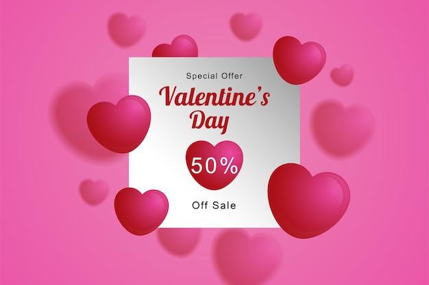 Wazig hart ballonnen achtergrond valentijnsdag poster