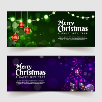 Wazig kerst banners sjabloon
