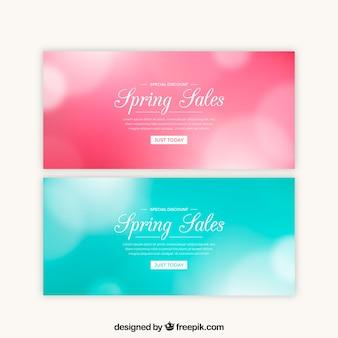 Wazig lente verkoop banners