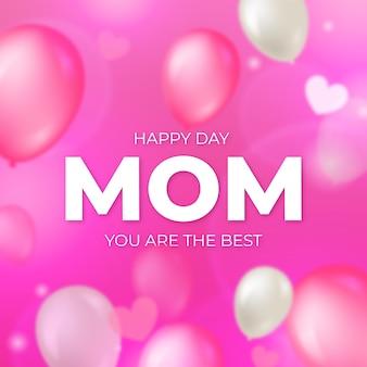 Wazig moederdag achtergrond met ballonnen