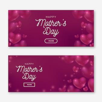 Wazig moederdag banners met begroeting