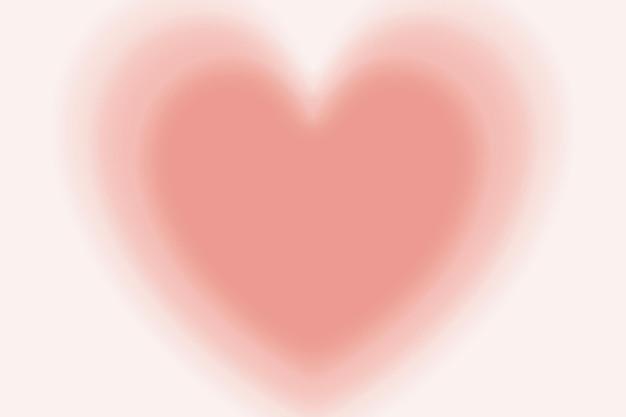Wazig perzik hart achtergrond vector in gradiënt vintage stijl