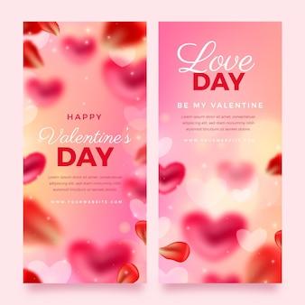 Wazig valentijnsdag banners pack