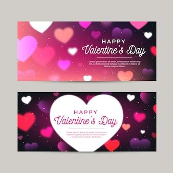 Wazig valentijnsdag banners