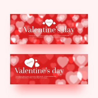 Wazig valentijnsdag banners Gratis Vector