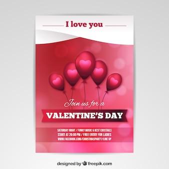 Wazig valentijnsdag flyer / poster sjabloon