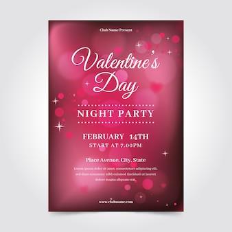 Wazig valentijnsdag flyer poster sjabloon