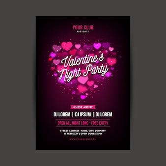 Wazig valentijnsdag partij flyer / poster sjabloon
