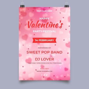 Wazig valentijnsdag partij flyer