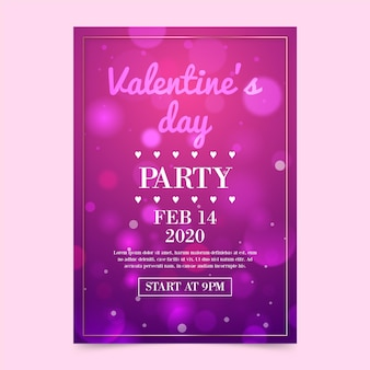 Wazig valentijnsdag partij folder sjabloon