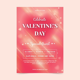 Wazig valentijnsdag partij poster sjabloon