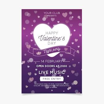 Wazig valentijnsdag partij sjabloon folder