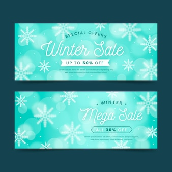 Wazig winter verkoop banners met sneeuwvlokken