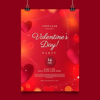 Wazige valentijnsdag partij poster