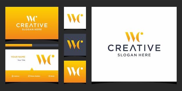 Wc-logo-ontwerp met visitekaartjesjabloon