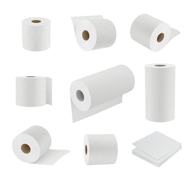 Wc-papier realistisch. hygiëne symbolen zachte handdoek cilinder sanitair papier vector 3d-sjablonen. illustratie wc-papierrol, tissue en handdoek voor hygiënische badkamer