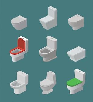 Wc-pot en stoel vector isometrische pictogrammen toiletartikelen flush en badkamer keramische apparatuur