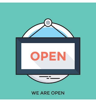 We are open flat vector icon