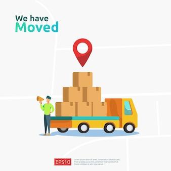 We hebben het vectorillustratieconcept verplaatst. nieuwe locatieaankondiging bedrijfswinkel, thuis- of wijzig kantooradres voor bestemmingspaginasjabloon, mobiele app, poster, banner, flyer, ui, web en achtergrond