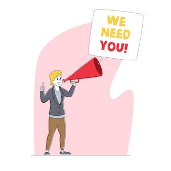 We hebben je nodig, aanwerving, rekrutering, hoofdjachtconcept. zakenvrouw karakter zoeken werknemer huren op baan met behulp van luidspreker
