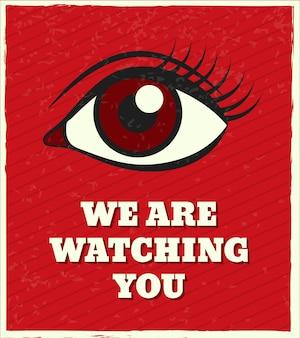 We houden je in de gaten, letters. zoek vrouwelijk oog