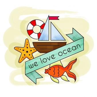 We houden van oceaan. aquarel zomervakantie. zomer banner.