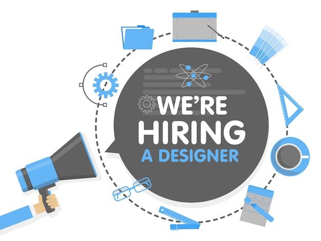 We huren een ontwerper in. megafoon concept vectorillustratie. bannersjabloon, advertenties, zoeken naar werknemers, inhuren van grafische kunstenaar voor werk